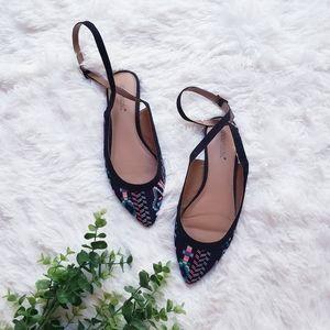 FREE Shoe dazzle flat black slipon shade sandals